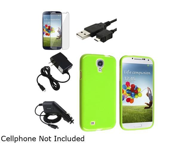 Insten Green Hybrid TPU Case + Clear LCD Protector + 2x Charger + Cable Compatible with Samsung Galaxy S4 SIV i9500