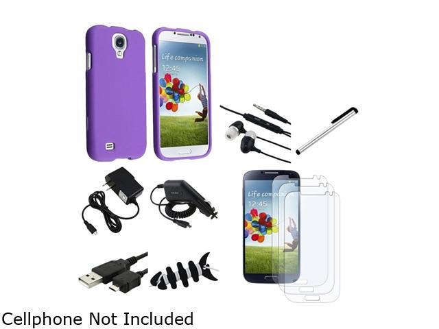 Insten 10 Accessory Purple Case + 3x Matte Screen Protector + Charger + USB Cable Compatible with Samsung Galaxy SIV S4 i9500