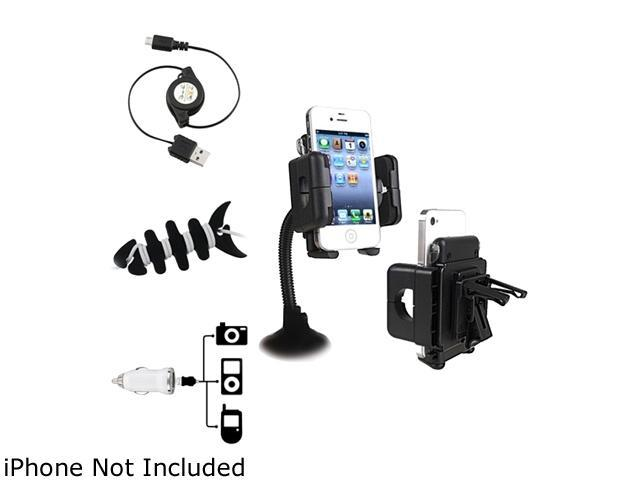 Insten 3-in-1 Mount + White Car Charger Kit + Fishbone Wrap Compatible with Samsung Galaxy S4 SIV i9500