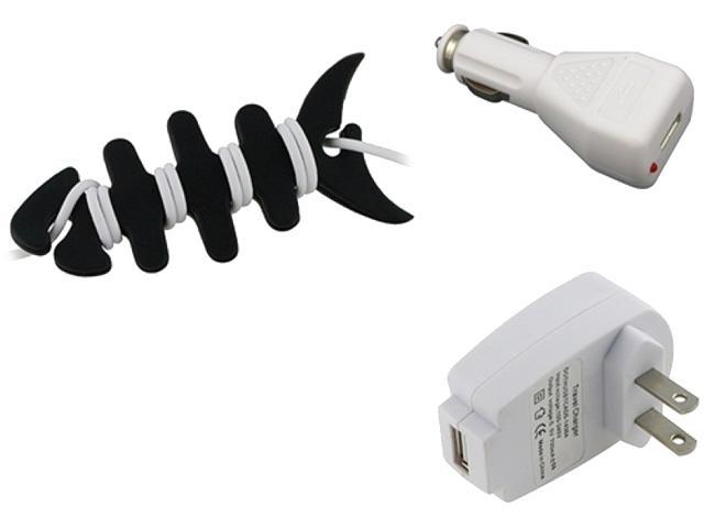 Insten AC DC Charger + Fishbone Wrap Compatible with Samsung Galaxy S3 SIII i9300 i9500 S4 SIV T989
