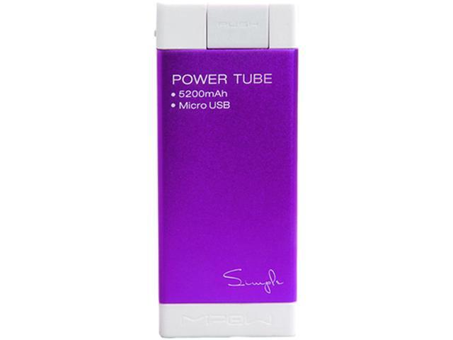MiPow Power Tube Simple 5200 Purple 5200 mAh Portable Charger SPM-04-PU