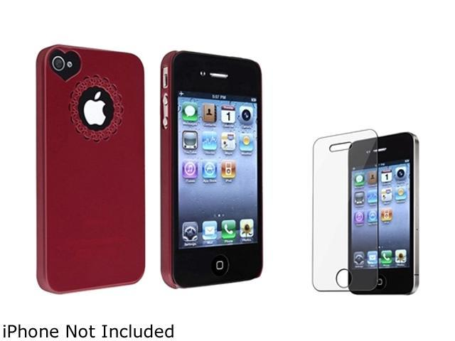 Insten Red Rubber Case + Reusable Screen Protector compatible with Apple iPhone 4 / 4S 724998