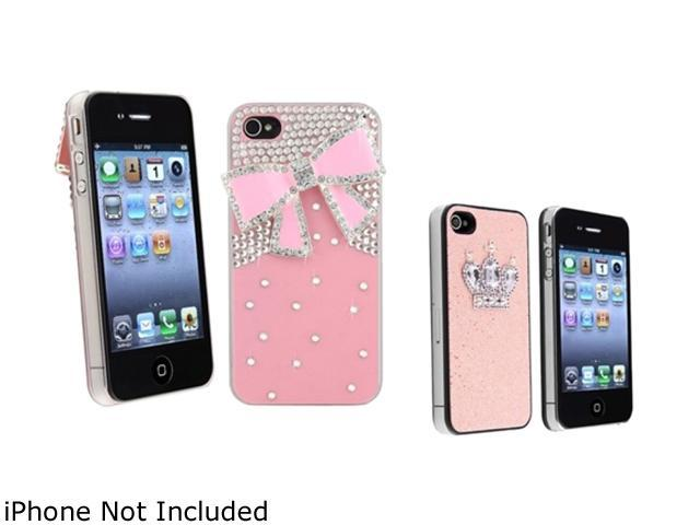 Insten 2 packs of Snap on Hard Cases (Pink 3D Bling Crystal Diamond & Ribbon, Pink Glitter with Crown Rear) for Apple iPhone 4/ 4S 698620