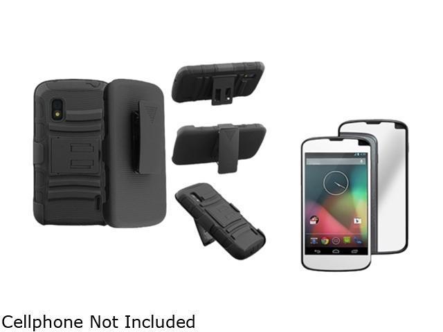 Insten Black Skin / Black Hard Hybrid Armor Case + Mirror Screen Protector Compatible with LG Nexus 4 E960
