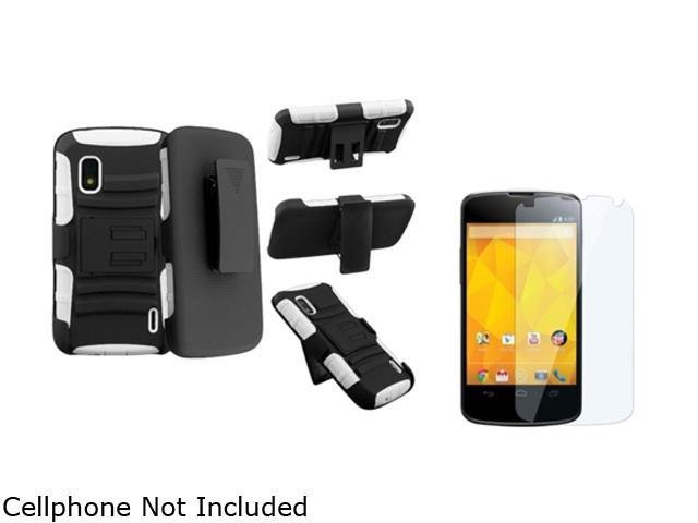 Insten White Skin / Black Hard Hybrid Armor Case + Clear Reusable Screen Protector Compatible with LG Nexus 4 E960
