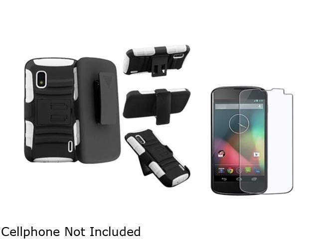 Insten White Skin / Black Hard Hybrid Armor Case + Anti-Glare Screen Protector Compatible with LG Nexus 4 E960
