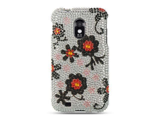 Samsung Epic 4G Touch/Samsung D710/Samsung Galaxy S II R760 Silver with Black Daisy Design Full Diamond Case