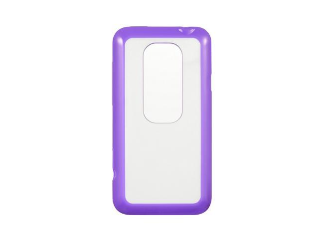 Luxmo Purple Purple Trim with Clear Hard Back Case & Covers HTC EVO 3D