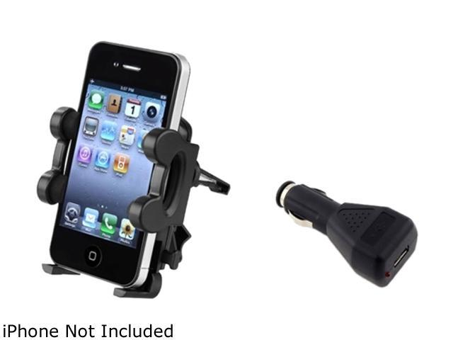 Insten Car Vent Mount Holder + Car Charger For Apple iPhone 5 / 5s / 5c / 4s / 3GS / 3G / iPod Touch 4 907215