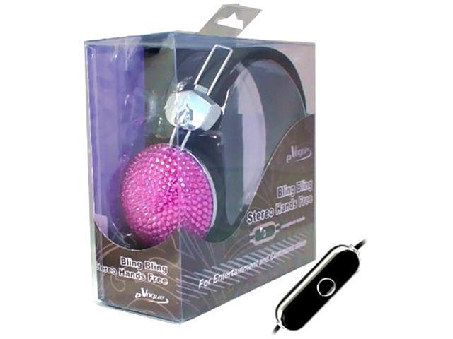 KTA Enterprises Purple 3.5mm Bling Rhinestone Headphone with Microphone KTA 55