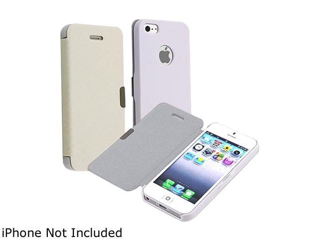 Insten White Rear Cream Fabric Snap-on Leather Case w/ Magnetic Flap For iPhone 5 823691