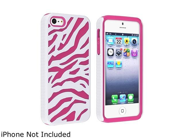 Insten Hot Pink Skin/ White Hard Zebra Hybrid Case For iPhone 5 / 5S 823692