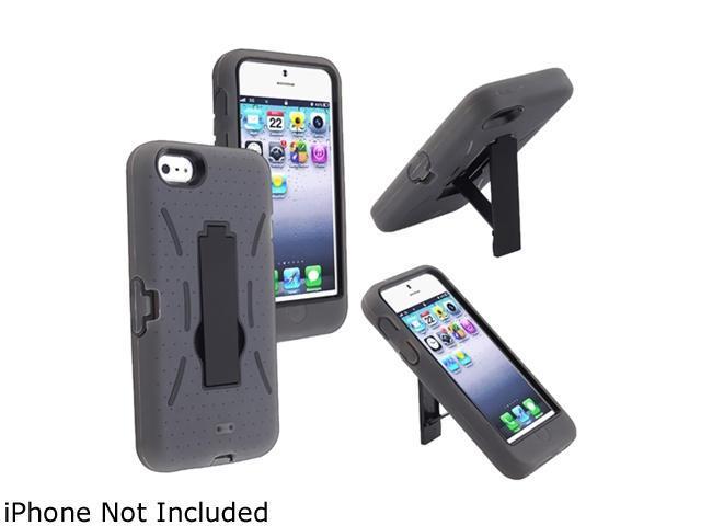 Insten Black Hard / Gray Skin Hybrid Case w/ Stand For iPhone 5 813653