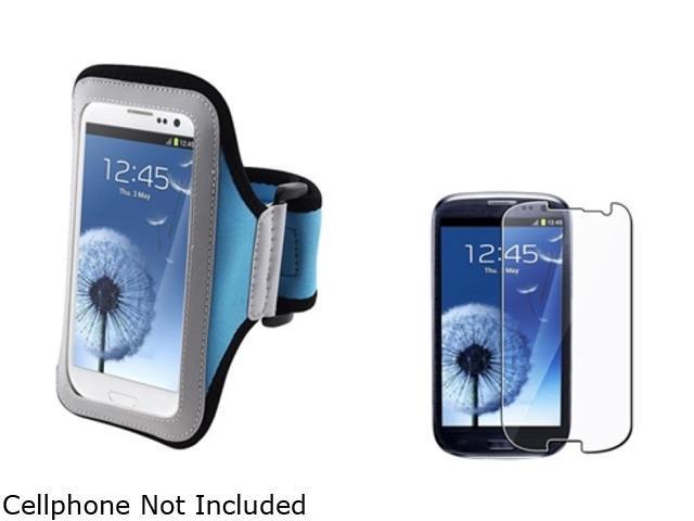 Insten Light Blue Armband & Reusable Screen Protector for Samsung Galaxy S3 826136