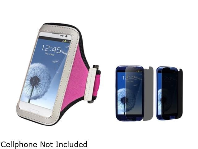 Insten Hot Pink Armband & Privacy Screen Protector for Samsung Galaxy S3 826144