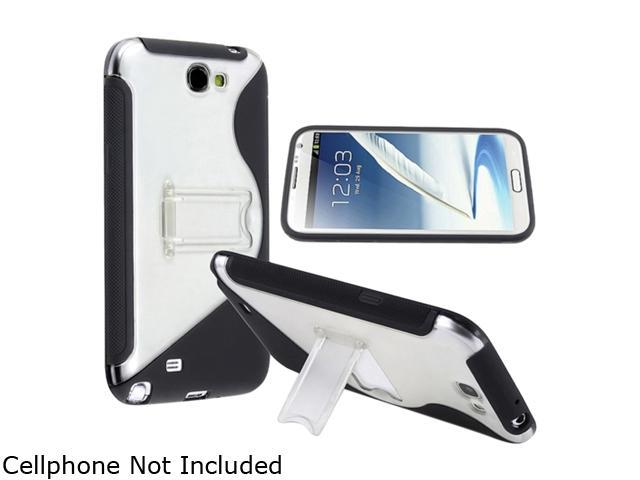 Insten Black / Clear S Shape TPU Rubber Skin Case w/ Stand For Samsung Galaxy Note II N7100 857463