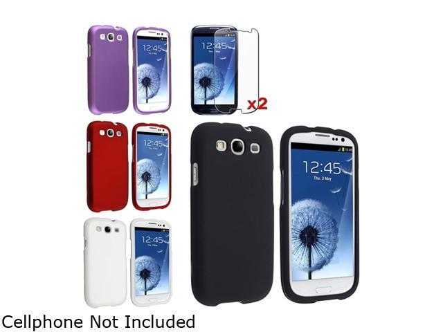 Insten Black & Purple & Red & White Solid 4-Pack Snap-on Rubber Coated Case & 2-Pack Reusable Screen Protector For Samsung Galaxy S3 674987