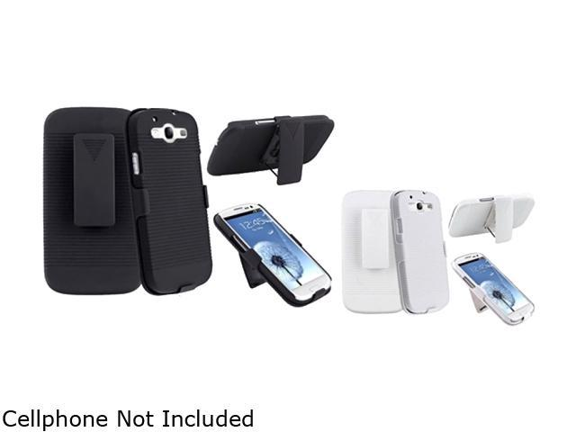 Insten Black & White 2-Pack Holster w/ Stand For Samsung Galaxy S3 674981