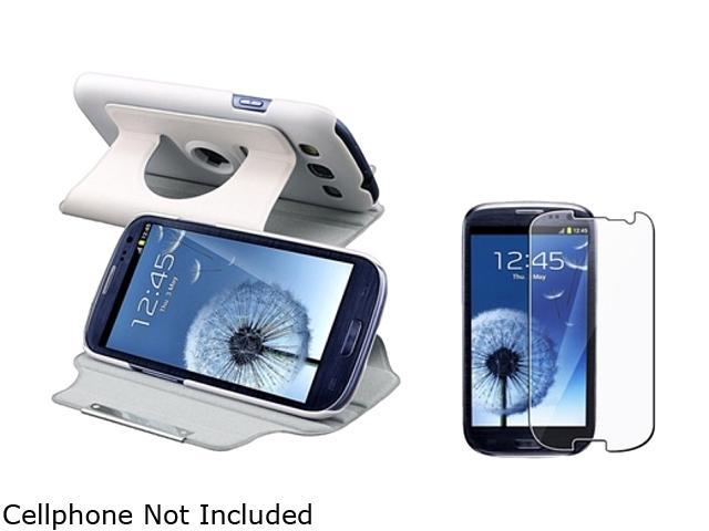 Insten White Leather Flip Case & Reusable Screen Protector For Samsung Galaxy S3 674979