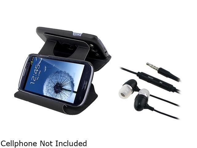 Insten Black Leather Flip Case & Stereo Headset For Samsung Galaxy S3 674978