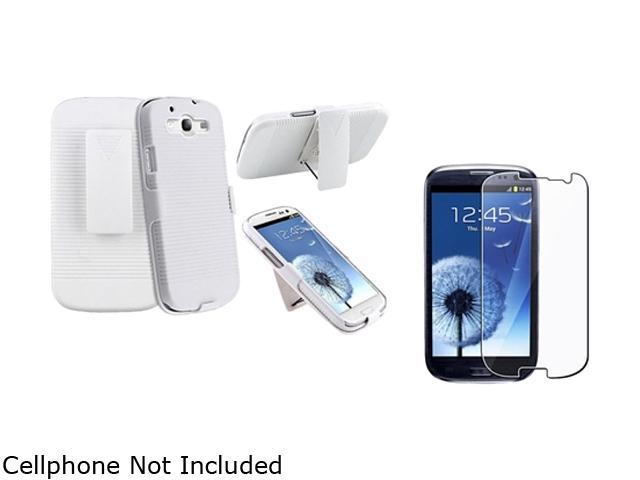 Insten White Holster w/ Stand & Reusable Screen Protector For Samsung Galaxy S3 674972