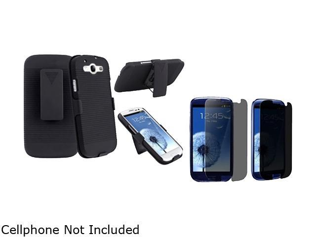 Insten Black Holster w/ Stand & Privacy Screen Protector For Samsung Galaxy S3 674970
