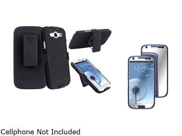 Insten Black Holster w/ Stand & Mirror Screen Protector For Samsung Galaxy S3 674969