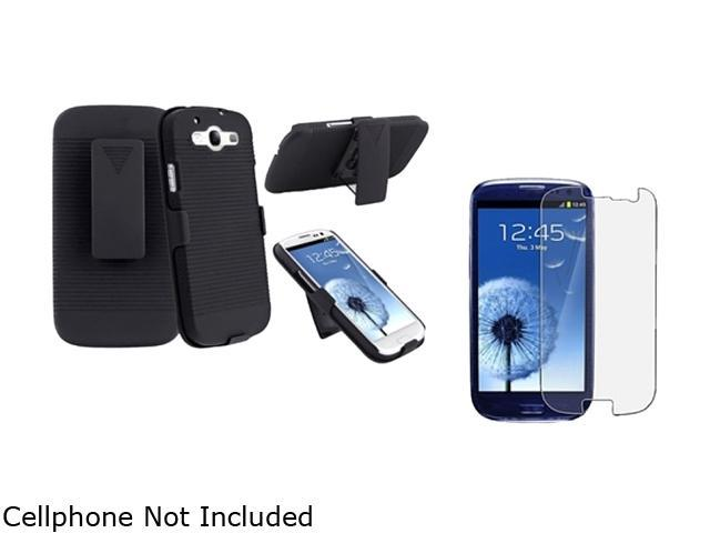 Insten Black Holster w/ Stand & Anti-Glare Screen Protector For Samsung Galaxy S3 674968