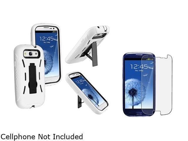Insten Black Hard / White Skin Hybrid Case w/ Stand & Anti-Glare Screen Protector For Samsung Galaxy S3 674958