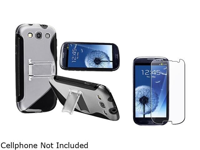 Insten Black TPU Rubber Skin Case w/ Stand & Reusable Screen Protector For Samsung Galaxy S3 674947