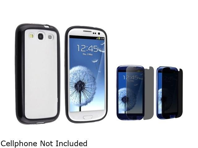 Insten Clear w/ Black Trim TPU Rubber Skin Case & Privacy Screen Protector For Samsung Galaxy S3 674935