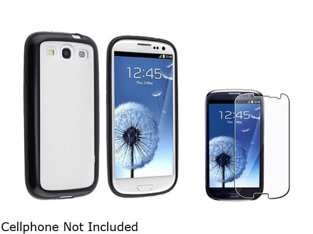 Insten Clear w/ Black Trim TPU Rubber Skin Case & Reusable Screen Protector For Samsung Galaxy S3 674932
