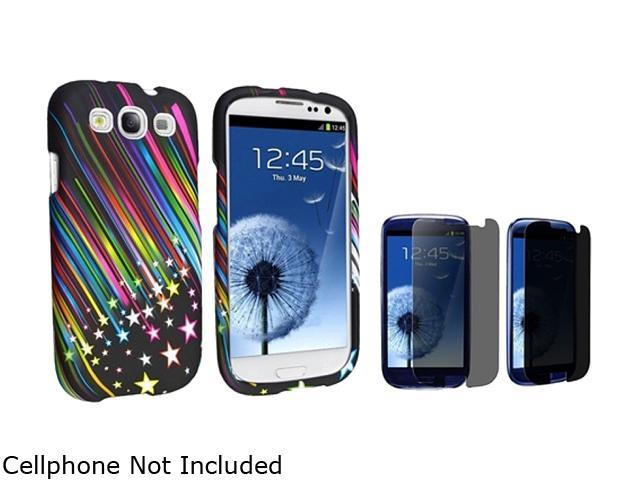 Insten Rainbow Star Snap-on Rubber Coated Case & Privacy Screen Protector For Samsung Galaxy S3 674920