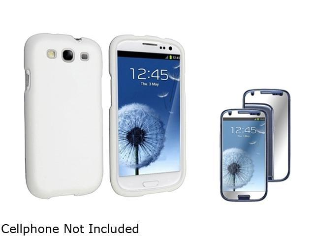 Insten White Solid Snap-on Rubber Coated Case & Mirror Screen Protector For Samsung Galaxy S3 674909