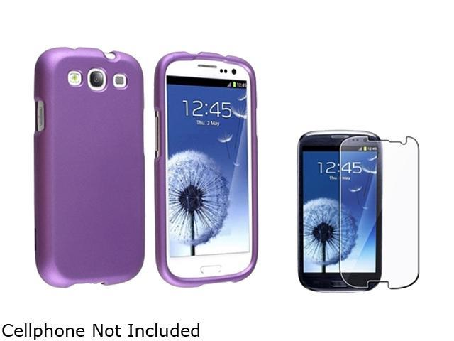 Insten Purple Solid Snap-on Rubber Coated Case & Reusable Screen Protector For Samsung Galaxy S3 674897