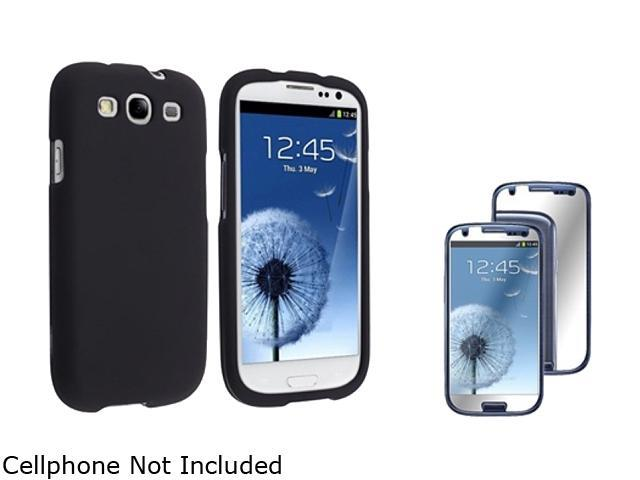 Insten Black Solid Snap-on Rubber Coated Case & Mirror Screen Protector For Samsung Galaxy S3 674894