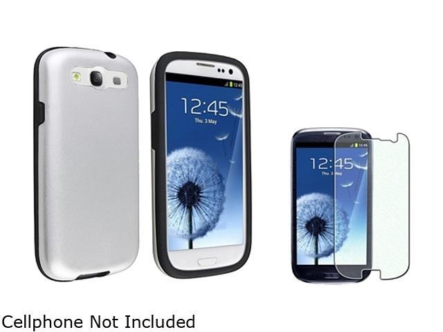 Insten Black Skin / Silver Aluminium Hybrid Case & Colorful Diamond Screen Protector For Samsung Galaxy S3 674149