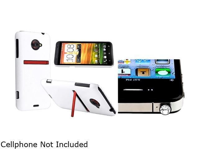 Insten White Snap-on Rubber Coated Case & Headset Dust Cap for HTC EVO 4G LTE 663130