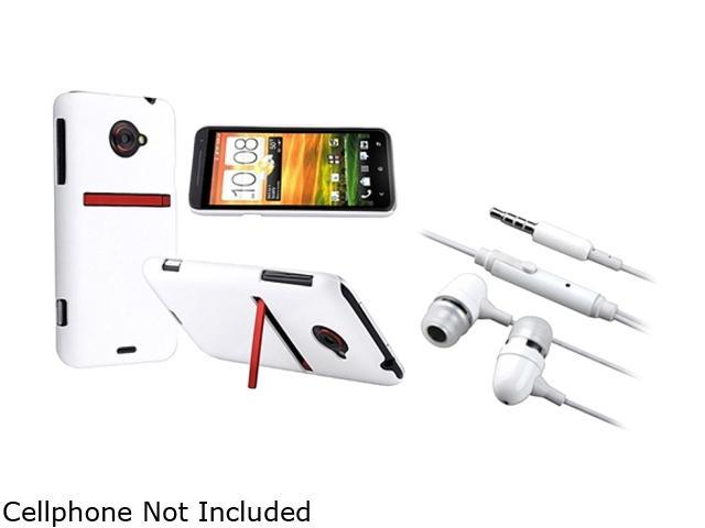 Insten White Snap-on Rubber Coated Case & Stereo Headset for HTC EVO 4G LTE 663129
