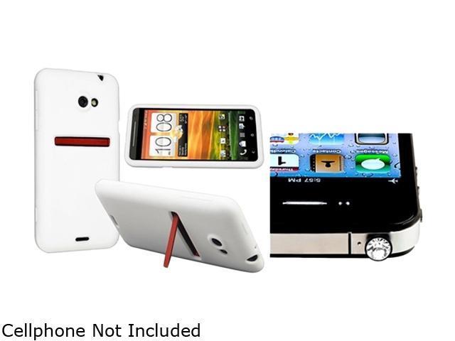 Insten White Silicone Skin Case & Headset Dust Cap for HTC EVO 4G LTE 663124