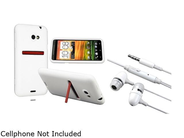 Insten White Silicone Skin Case & Stereo Headset for HTC EVO 4G LTE 663123