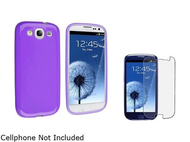 Insten Purple Jelly TPU Rubber Skin Case & Anti-Glare Screen Protector for Samsung Galaxy S3 663066