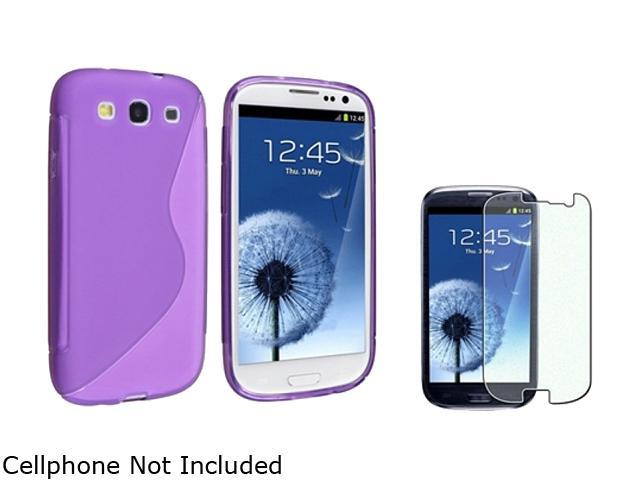 Insten Clear Purple S Shape TPU Rubber Skin Case & Colorful Diamond Screen Protector for Samsung Galaxy S3 658244