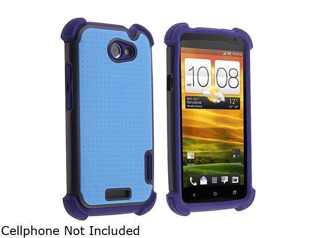 Insten Blue Skin / Black Hard Hybrid Armor Case for HTC One X 822243