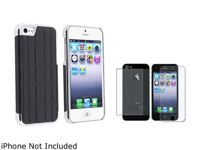 Insten Black Metal Vinyl Snap-on Case w/ 2 LCD Kit (Front & Back) Anti-Glare Screen Cover For iPhone 5 831879