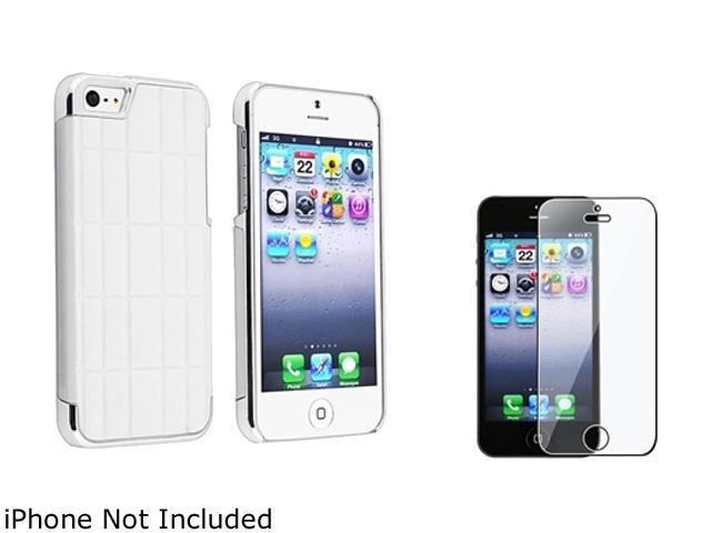 Insten White Metal Vinyl Snap-on Case w/ Reusable Screen Protector For iPhone 5 831881