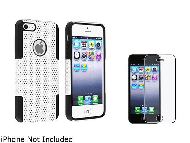 Insten Black / White Hybrid Meshed Silicone / Hard Plastic Case + Anti-Glare LCD Cover For iPhone 5 831938