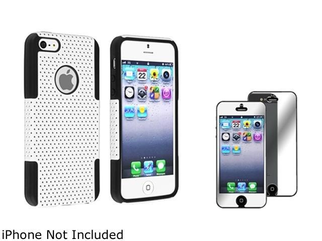 Insten Black / White Hybrid Meshed Silicone / Hard Plastic Case + Mirror Screen Protector For iPhone 5 831939