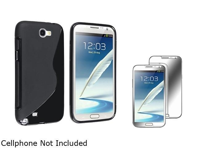Insten Black S Shape TPU Rubber Case + Mirror Screen Protector For Samsung Galaxy Note II N7100 920635