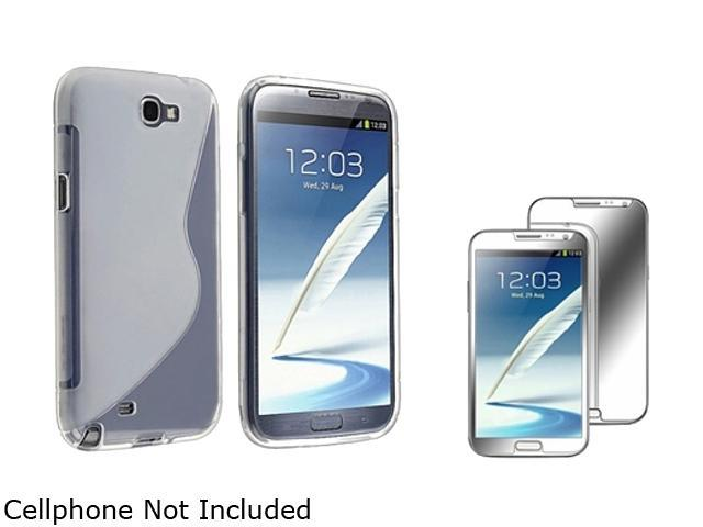 Insten Clear S Shape TPU Rubber Case + Mirror Screen Protector For Samsung Galaxy Note II N7100 920643